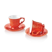 Retro 12 Parça Kahve Fincan Takımı Kırmızı
