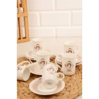 Loveq Porselen Vintage Beauty 6Lı Kahve Fincan Seti