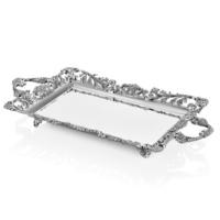 Cemile Gümüş Dantel Desenli Dikdörtgen Tepsi 51x27 Cm