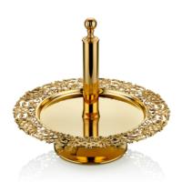 Cemile Mat Altın Çiçek Desenli Ayaklı Etejer 33 Cm