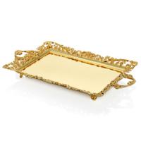Cemile Mat Altın Dantel Desenli Dikdörtgen Tepsi 56x33 Cm