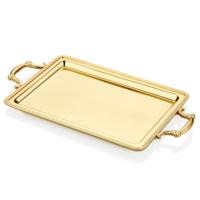Cemile Mat Altın Yay Desenli Dikdörtgen Tepsi 51x28 Cm