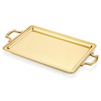 Cemile Mat Altın Yay Desenli Dikdörtgen Tepsi 56x31 Cm