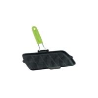 Lava Tel ve Yeşil Silikon Saplı Döküm Demir Izgara Tava 21x36 cm