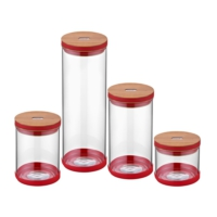 N2338 Sweet Bambu Kırmızı 4`lü Kavanoz Set
