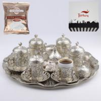 Acar Acurlu Motifli 6 Kişilik Kahve Seti