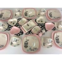 Keramika 36 Parça Retro Açık Pembe Kahvaltı Takımı