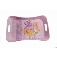 Danieli Çiçek Desenli Mor Renkli Melamin Tepsi 41,3 X 23,4 Cm