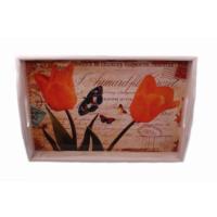 Danieli Polyester Lale Desenli Tepsi Oranj 38 X 26 Cm
