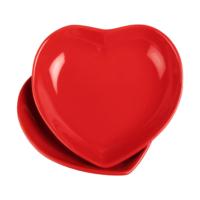 JOY GLASS 2 li Şeker Peker Kalp Yemek Tabağı