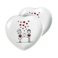 JOY GLASS 2 li Şeker Peker Kalp Pasta Tabağı