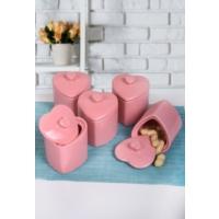 Keramika 5'Li Kalp Baharat Takımı 8 Cm Pembe