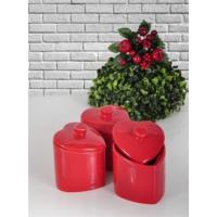 Keramika 3 Adet Kalp Baharat Takımı 10 Cm Kırmızı