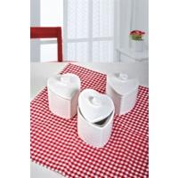 Keramika 3 Adet Kalp Baharat Takımı 10 Cm Beyaz