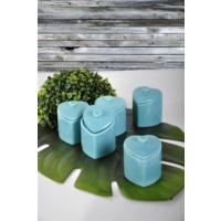 Keramika 5'Li Kalp Baharat Takımı 8 Cm Turkuaz