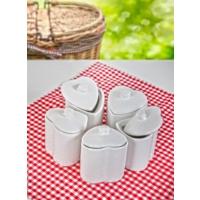 Keramika 5'Li Kalp Baharat Takımı 8 Cm Beyaz
