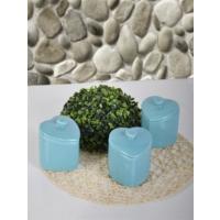 Keramika 3 Adet Kalp Baharat Takımı 10 Cm Turkuaz