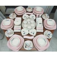 Keramika 60 Parça 6 Kişilik Retro Yemek Ve Kahvaltı Takımı