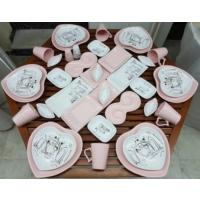 Keramika 40 Parça 6 Kişilik Peri Masalı Pink Kahvaltı Takımı