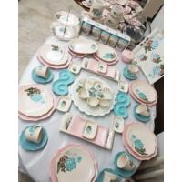 Keramika 83 Parça 6 Kişilik Turkuaz Gül Mega Kahvaltı Takımı