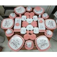 Keramika 48 Parça 6 Kişilik Peri Masalı Pink Kahvaltı Takımı