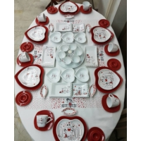 Keramika 56 Parça 6 Kişilik Peri Masalı Kahvaltı Takımı
