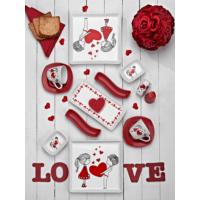 Keramika Set Kahvaltı Dikdörtgen/Kare/Köşem/Yeditepe/Ivory/Assos 15 Parça Beyaz 004-Kırmızı 506 Keramika Dolu Kalp
