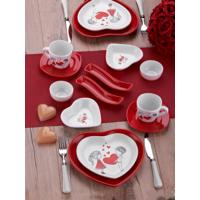 Keramika Set Kalp Kahvaltı 14 Parça Beyaz 004-Kırmızı 506 Keramika Dolu Kalp