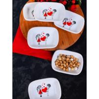 Keramika Set Kayık Dikdörtgen 11 CM 6 Parça Beyaz 004 Keramika Dolu Kalp