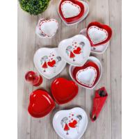 Keramika Takım Yemek Kalp 24 Parça Beyaz 004-Kırmızı 506 Keramika Dolu Kalp