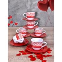 Keramika Takım Çay Yeditepe 12 Parça Beyaz 004-Kırmızı 506 Zeus