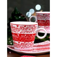 Keramika Takım Çay Hanımeli 4 Parça Beyaz 004 Zeus