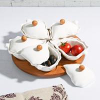 Royal Windsor Bambu Standlı Porselen 5'li Kahvaltılık