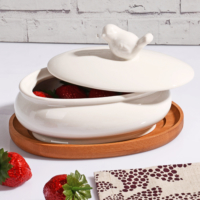 Royal Windsor Bambu Standlı Porselen Saklama Kabı