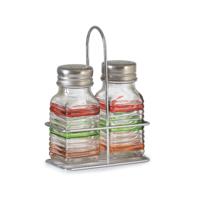 CuteChef Kitchen Renkli Çizgili 2'li Tuzluk/Biberlik Seti