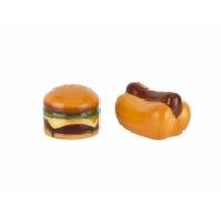 Tantitoni Seramik Sosisli ve Hamburger Şekilli Tuzluk Biberlik Seti