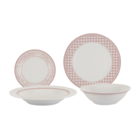 Tantitoni Porselen Pink Quadro Desenli 24 Parça Yemek Takımı