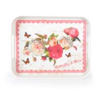 LoveQ 29X44 Melamin Kaymaz Oval Tepsi Butterfly Rose