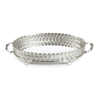 LoveQ Oval Tepsi Hasır Gümüş
