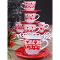 Keramika Takım Cay Yeditepe 12 Parca Beyaz 004-Kırmızı 506 Eros