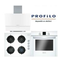 Profilo Ankastre Set (OO36P2B10D Ocak - DVE6G520 Davlumbaz - FRMA955W Fırın)
