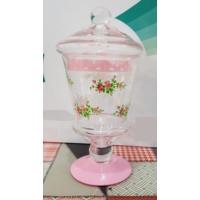 Acar Cam Kavanoz Pembe Çiçekli Lokumluk Şekerlik