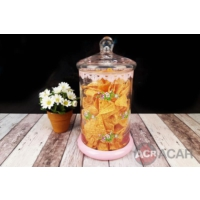 Acar Cam Kavanoz Pembe Çiçekli 25 Cm