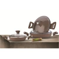 Saflon Granit Omlet Set 6 Parça Kahve (33*29*21)