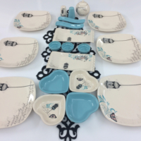 Keramika Retro Turkuaz 21 Parça Kahvaltı Takımı