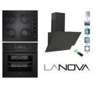 Lanova Black Touch 3lü Ankastre Set (3206B03 Siyah Fırın + G16400-206 Cam Ocak + Peska Dokunmatik Davlumbaz)