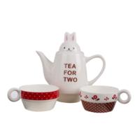 "Loveq Çay Seti ""Tea For Two"" Çaydanlık 16,5X9X16,5 / 2 Adet Fincan 11,5X8,5X4,5 Cm 3 Parça Drn-29216"