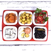 Ubi Home Seramik&Akrilik Kırmızı Fiyonklu Kahvaltı Seti