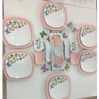 Keramika 24 Parça Açık Pembe Kelebek Desenli Kahvaltı Takımı