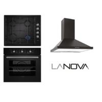 Lanova Black Eco 3lü Ankastre Set ( 1104B01 Ankastre Fırın + 36400 205 Siyah Ocak + Furina Siyah Davlumbaz)